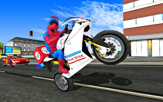 Super Hero Stunt Bike - Spider Hero Pizza Delivery screenshot 3
