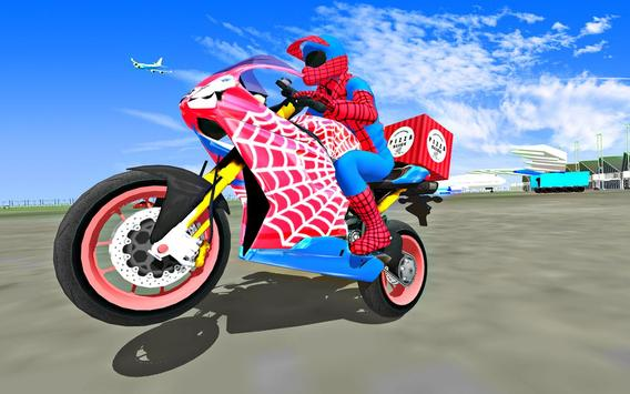 Super Hero Stunt Bike - Spider Hero Pizza Delivery screenshot 5