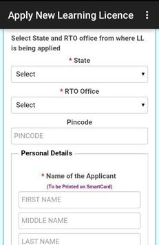 Apply New Learning Licence screenshot 2