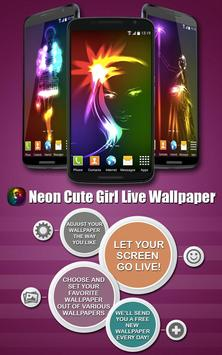 Neon Cute Girl Live Wallpaper poster