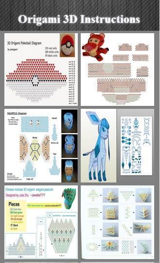 3d origami Nine-tailed fox how to build. by kumazaza on DeviantArt | 539x329