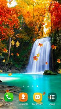 Autumn Waterfall Wallpaper poster