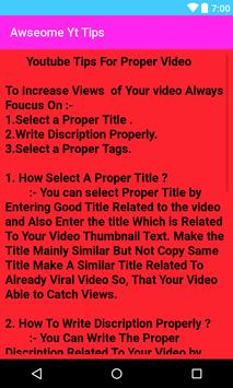 Awesome YT Tips - Increase Views + Subs +WatchTime apk screenshot