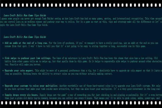 Guide Lara relic run Tips poster