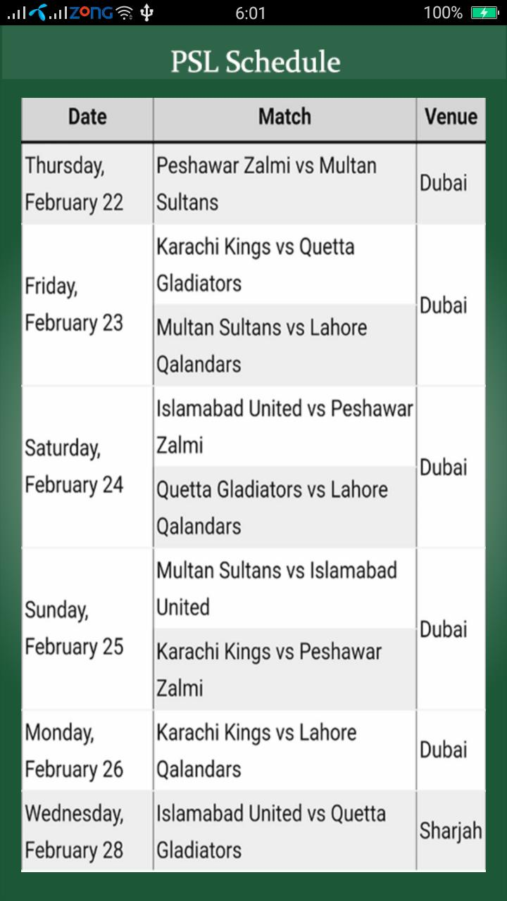 PSL Schedule 2018 poster
