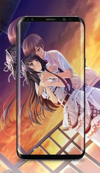 Anime Couple Kissing Wallpaper Poster Screenshot 1