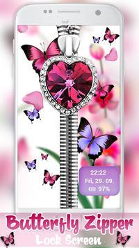 Butterfly Zipper Lock Screen apk screenshot