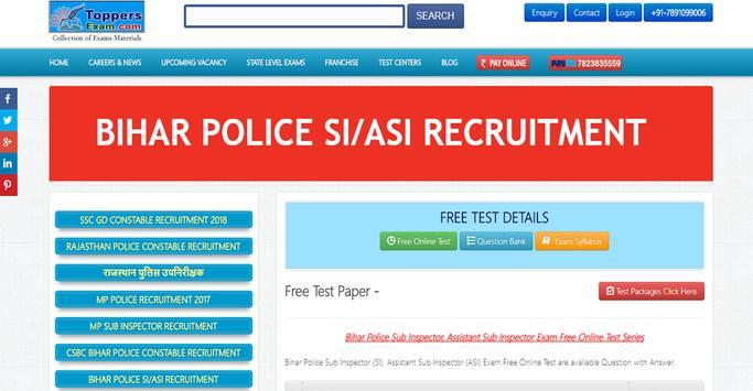 BIHAR POLICE SI ASI RECRUITMENT EXAM poster