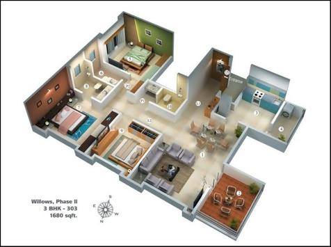 Beautiful Large House Plans 3D 2018 poster