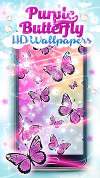 Purple Butterfly HD Wallpaper poster