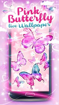 Pink Butterfly Live Wallpaper apk screenshot
