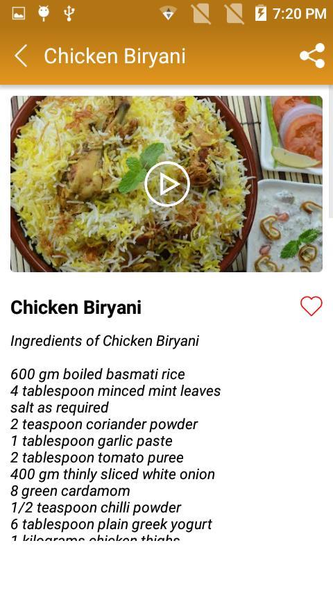 Chicken Biryani recipe for Android - APK Download