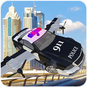 Police Flying Cop Car Driving 3D icon