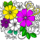 Flower Coloring Book with Relaxing Music ♪ icon