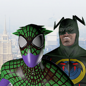 Spider hero vs Bat hero. Duel icon