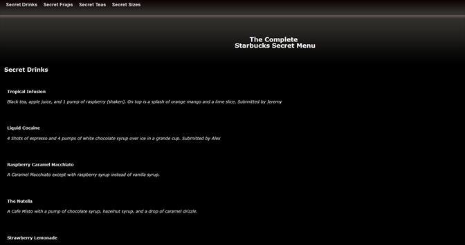 Complete Starbucks Secret Menu apk screenshot