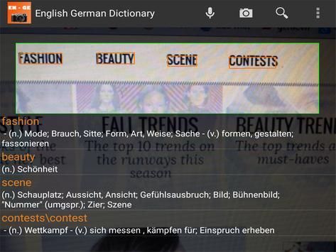 English German Camera Dict apk screenshot