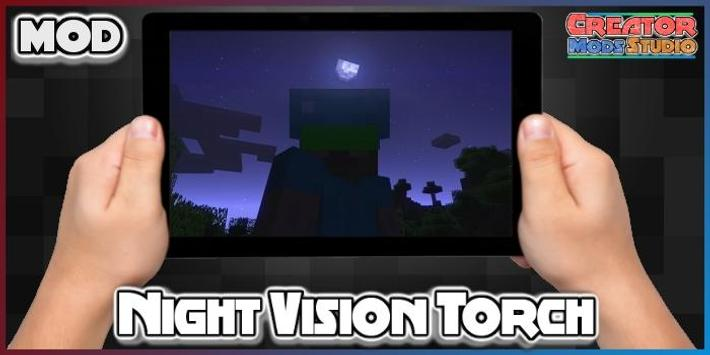 Night Vision Torch MOD for MCPE poster