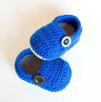 Crochet Pattern Baby Slippers Icon poster