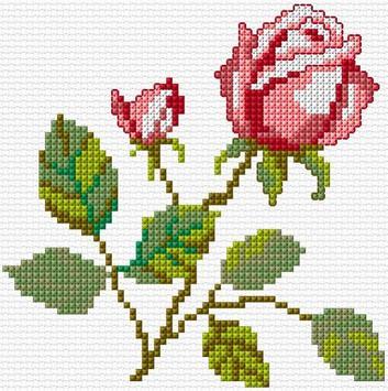 Cross Stitch Flowers poster