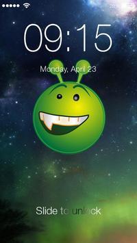 Green Alien Emoji Lock Screen poster