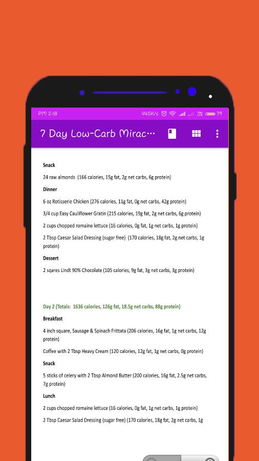 7 Day Low Carb Miracle Diet Meal Plan And Menu For Android Apk Download