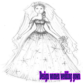 Design women wedding gown icon