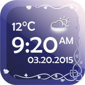 Digital Clock With Weather icon