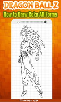 How to draw Amazing goku's all Forms from DBZ poster