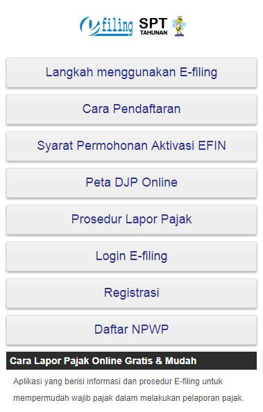 E Filing Isi Spt Tahunan For Android Apk Download