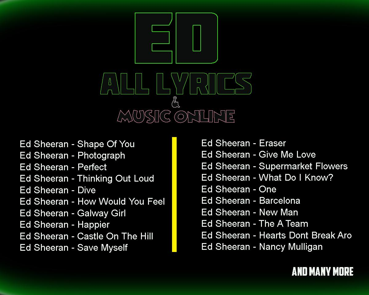 Ed Sheeran Lyrics for Android - APK Download