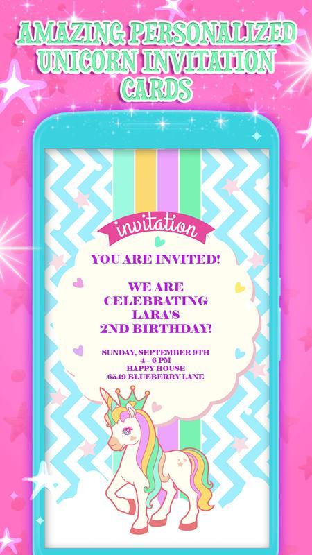 Unicorn Birthday Invitation Cards Poster