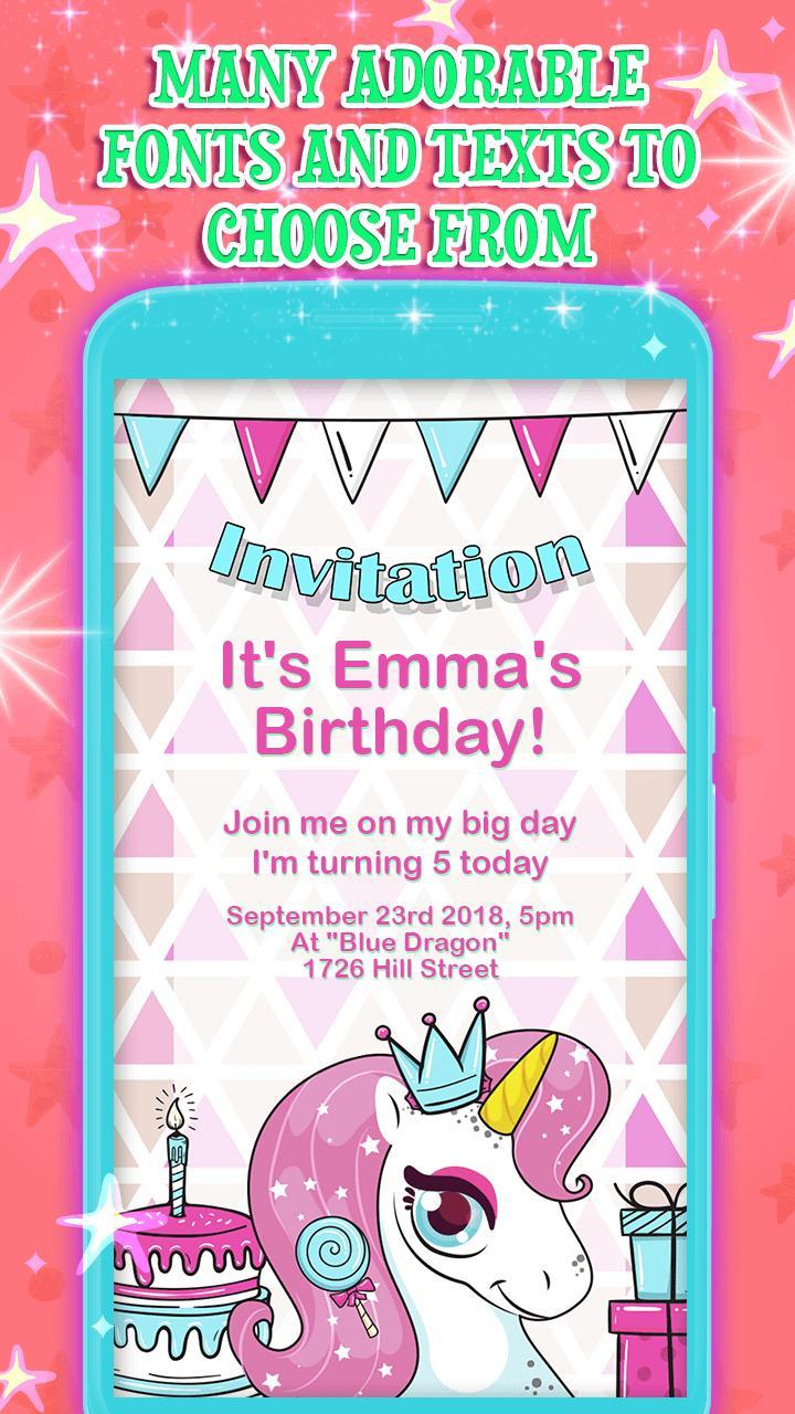 يونيكورن حفلة عيد ميلاد الدعوات For Android Apk Download