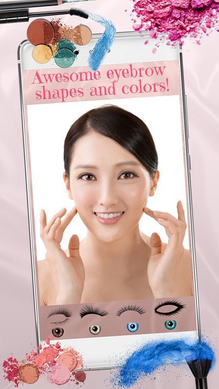 Android 用の 眉毛 メイクアップ 写真 加工 自撮り カメラ アプリ Apk
