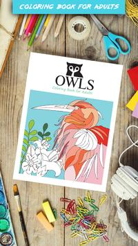 Owls Coloring Book For Adults Poster