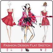 Fashion Design Flat Sketch icon