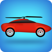 flying helicopter car icon