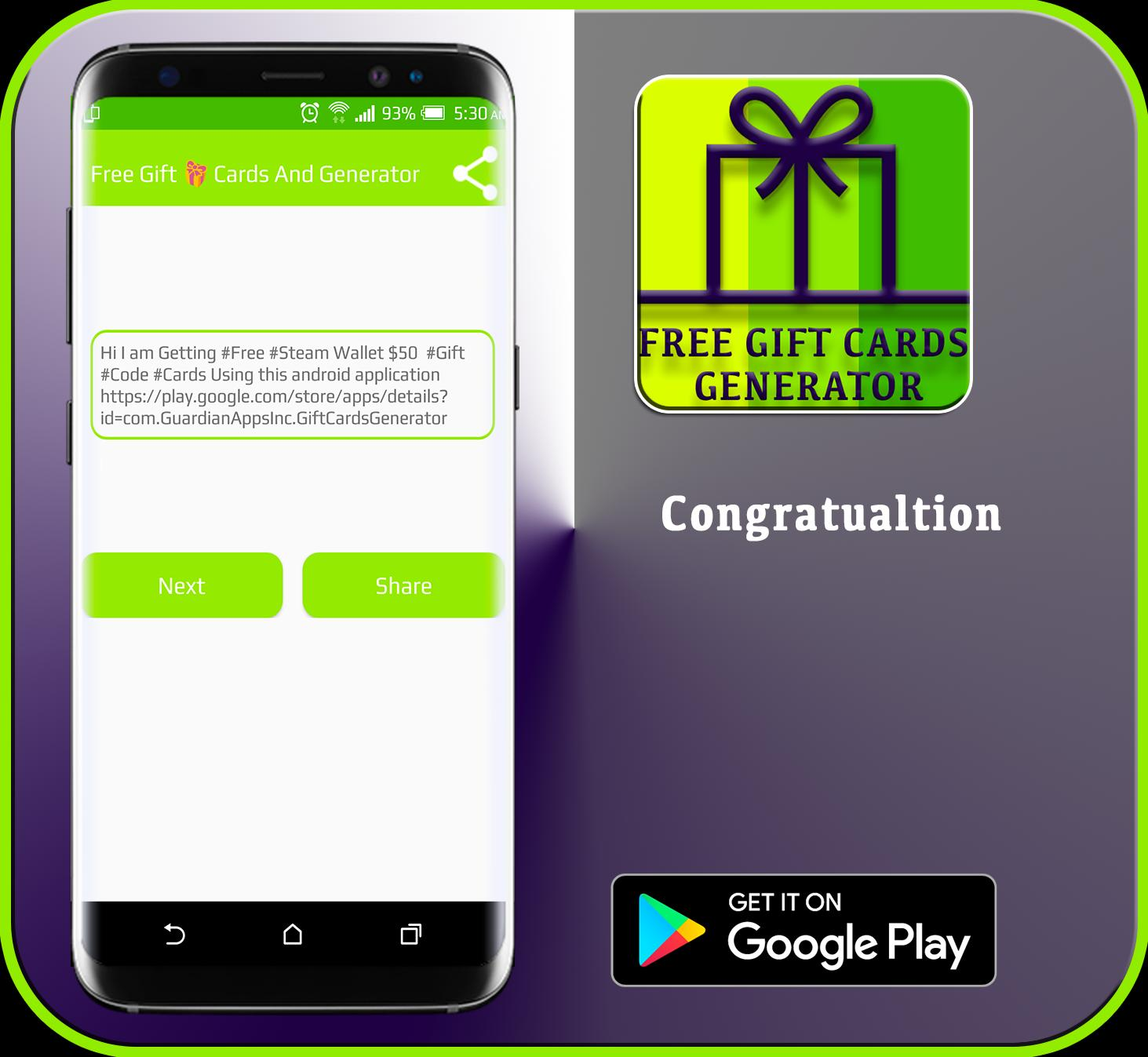 Generator for Free 🎁 Gift Card 💳 & Coins 💰 2017 for Android - APK