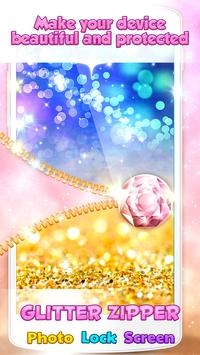Glitter Zipper Photo Lock Screen poster