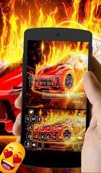 Burning car keyboard theme apk screenshot