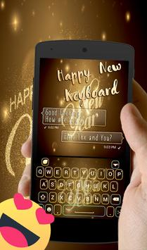 Happy New Year 2018 Go keyboard Gold Theme poster