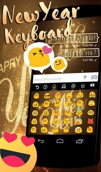 Happy New Year 2018 Go keyboard Gold Theme apk screenshot