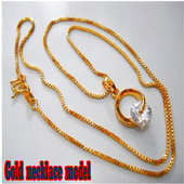 Gold necklace model icon