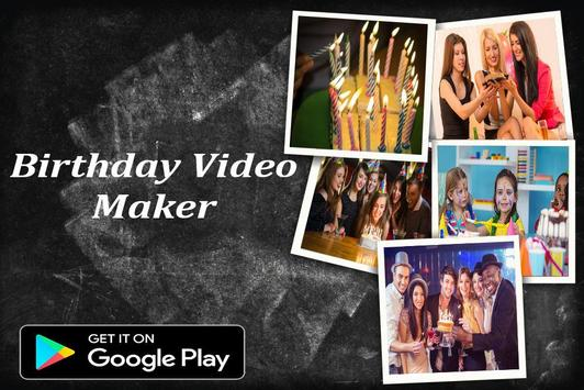 Birthday video maker with song poster