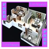 Modern 3D Home Rendering icon
