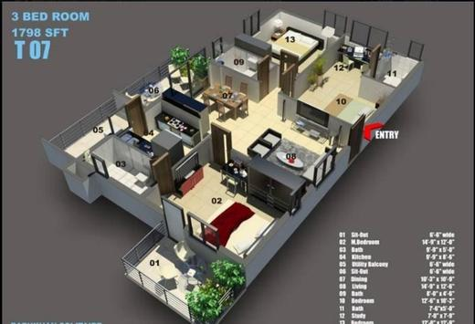 Interior Home 3D poster