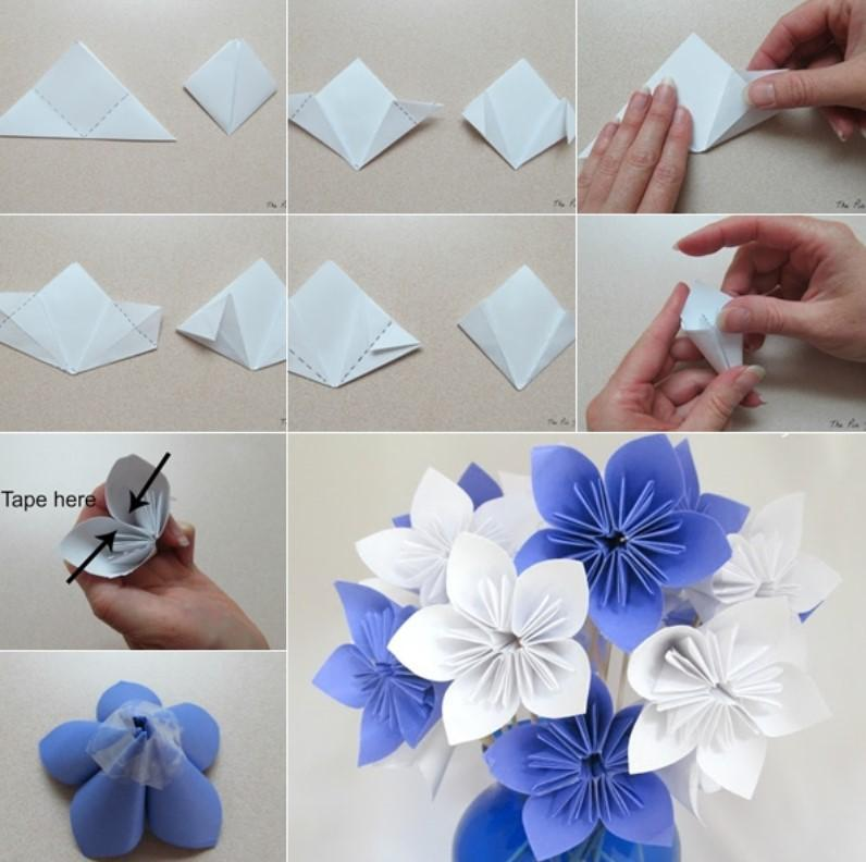 Картинки как сделать цветы из бумаги поэтапно