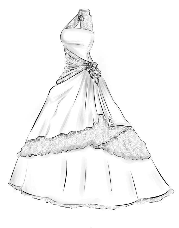 Дизайн платья рисунки нежные целом