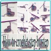 How to make crochet step by step icon