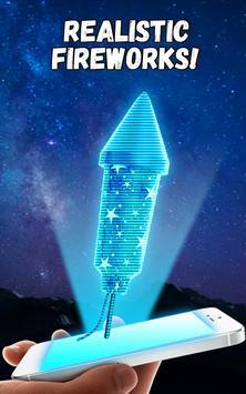 Firework Hologram New Year Christmas poster